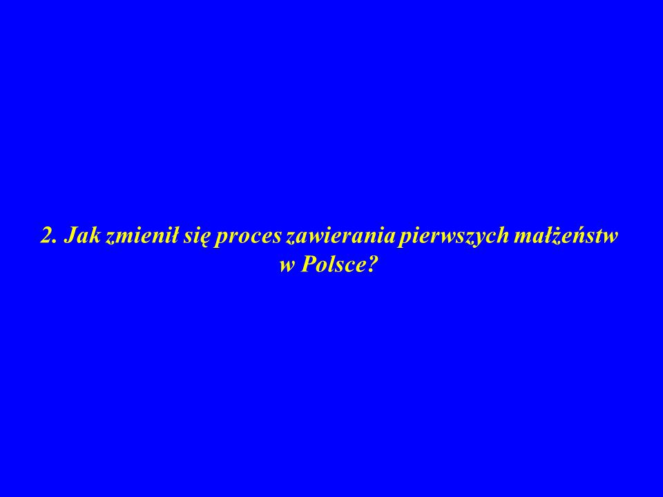 2. Jak zmienił się proces zawierania pierwszych małżeństw w Polsce