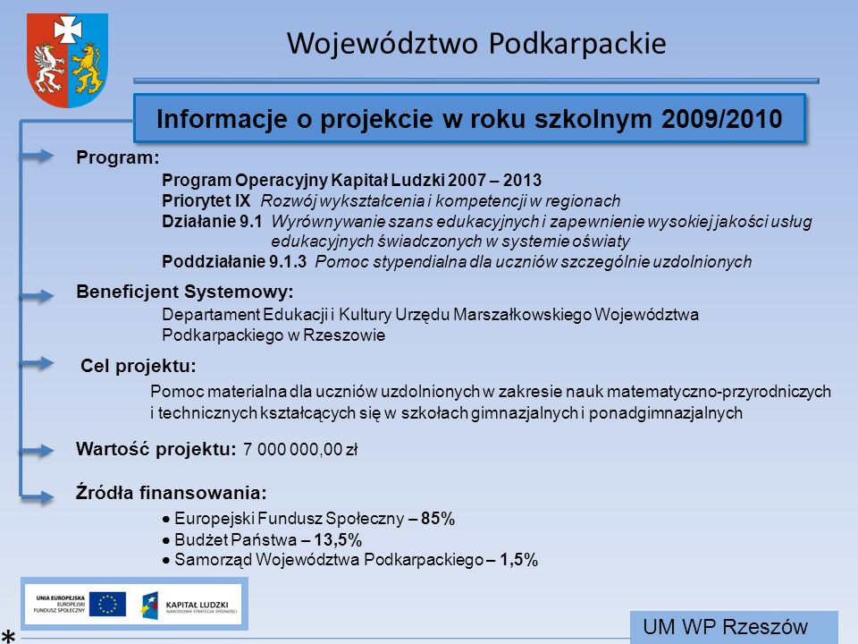 Informacje o projekcie w roku szkolnym 2009/2010