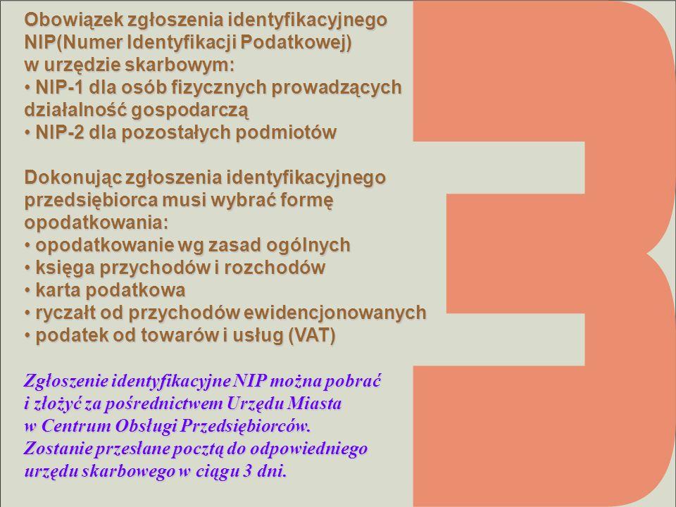 Obowiązek zgłoszenia identyfikacyjnego NIP(Numer Identyfikacji Podatkowej) w urzędzie skarbowym: