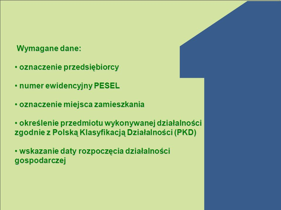 Wymagane dane: oznaczenie przedsiębiorcy. numer ewidencyjny PESEL. oznaczenie miejsca zamieszkania.