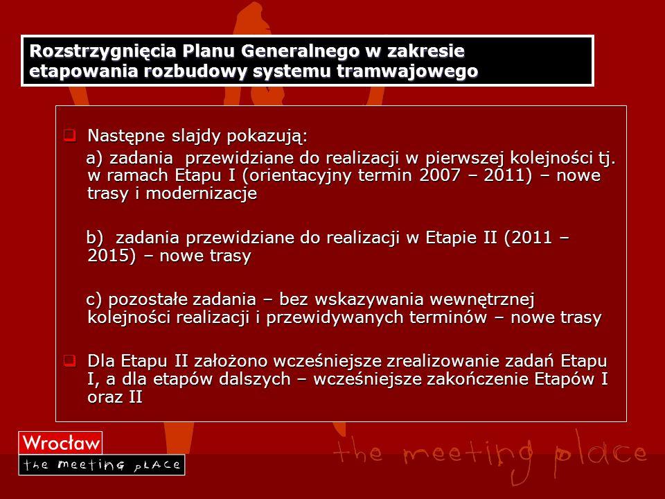 Rozstrzygnięcia Planu Generalnego w zakresie etapowania rozbudowy systemu tramwajowego
