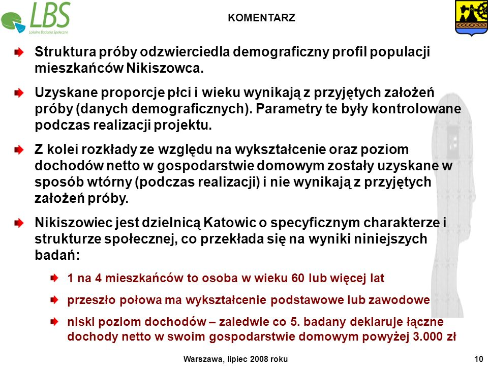 KOMENTARZ Struktura próby odzwierciedla demograficzny profil populacji mieszkańców Nikiszowca.