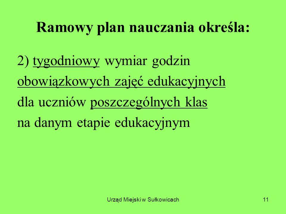 Ramowy plan nauczania określa: