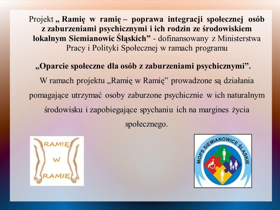 """Projekt """" Ramię w ramię – poprawa integracji społecznej osób z zaburzeniami psychicznymi i ich rodzin ze środowiskiem lokalnym Siemianowic Śląskich - dofinansowany z Ministerstwa Pracy i Polityki Społecznej w ramach programu"""