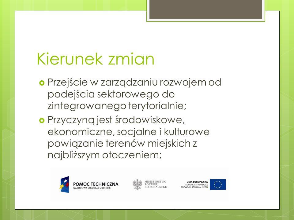 Kierunek zmian Przejście w zarządzaniu rozwojem od podejścia sektorowego do zintegrowanego terytorialnie;
