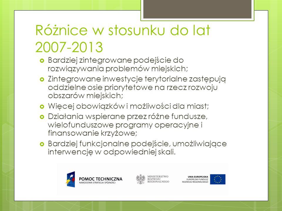 Różnice w stosunku do lat 2007-2013