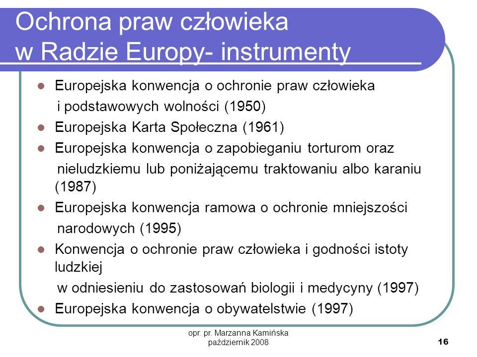 Ochrona praw człowieka w Radzie Europy- instrumenty