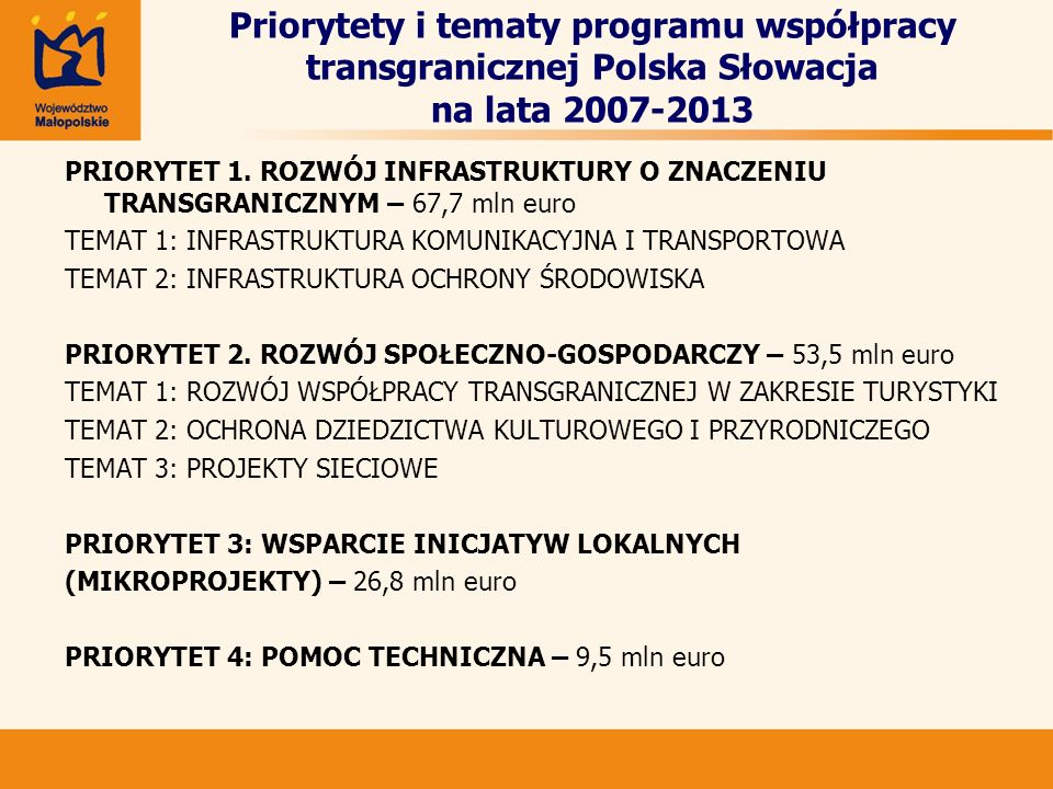 Priorytety i tematy programu współpracy transgranicznej Polska Słowacja na lata 2007-2013