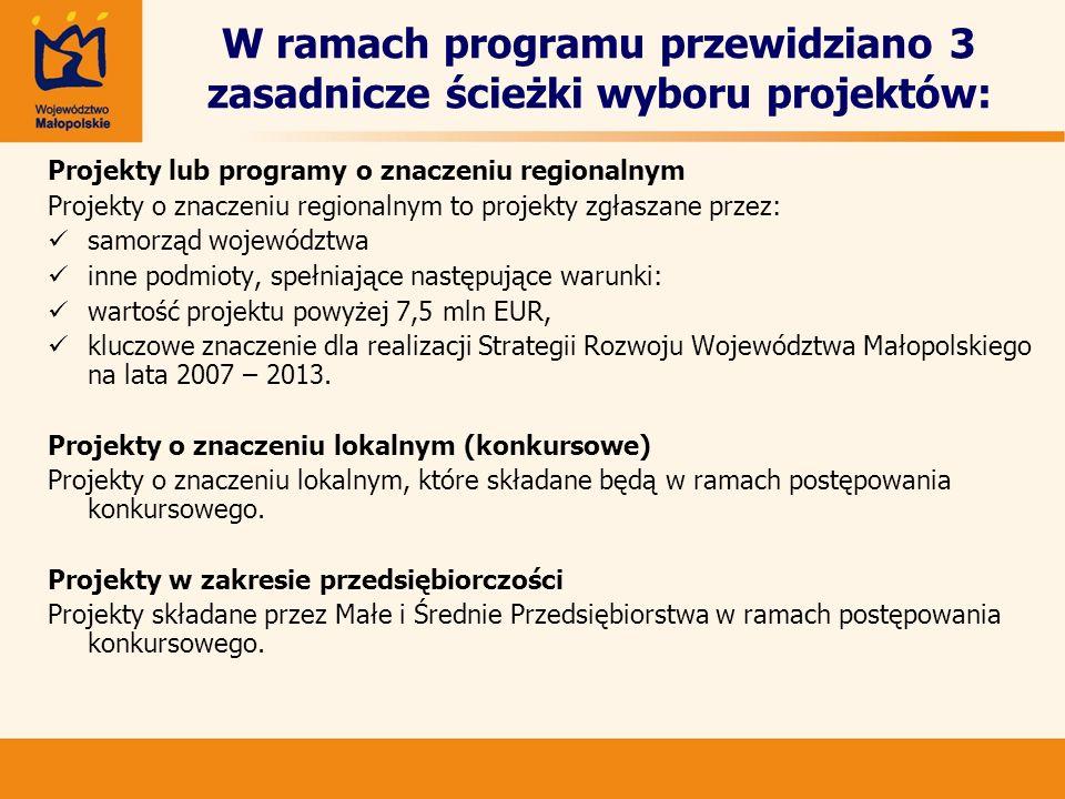 W ramach programu przewidziano 3 zasadnicze ścieżki wyboru projektów: