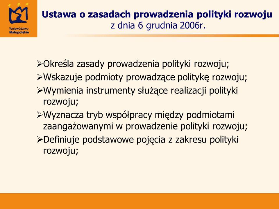 Ustawa o zasadach prowadzenia polityki rozwoju z dnia 6 grudnia 2006r.