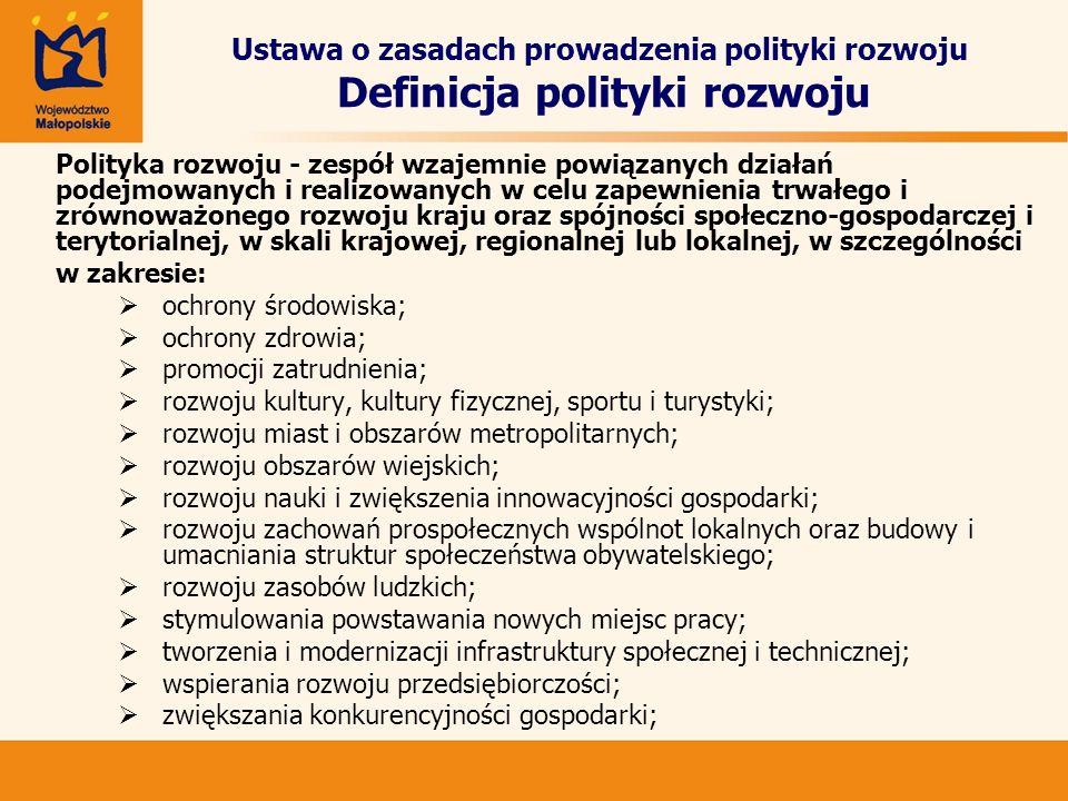 Ustawa o zasadach prowadzenia polityki rozwoju Definicja polityki rozwoju