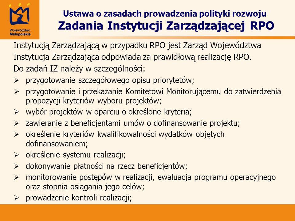 Instytucją Zarządzającą w przypadku RPO jest Zarząd Województwa