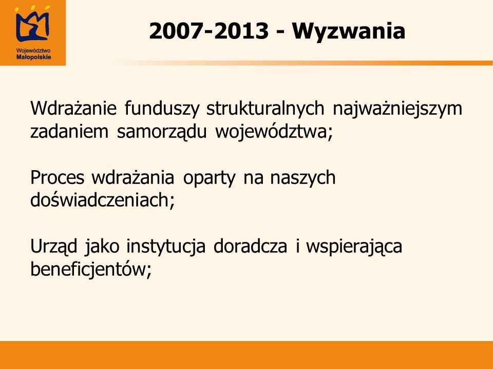 2007-2013 - Wyzwania Wdrażanie funduszy strukturalnych najważniejszym zadaniem samorządu województwa;