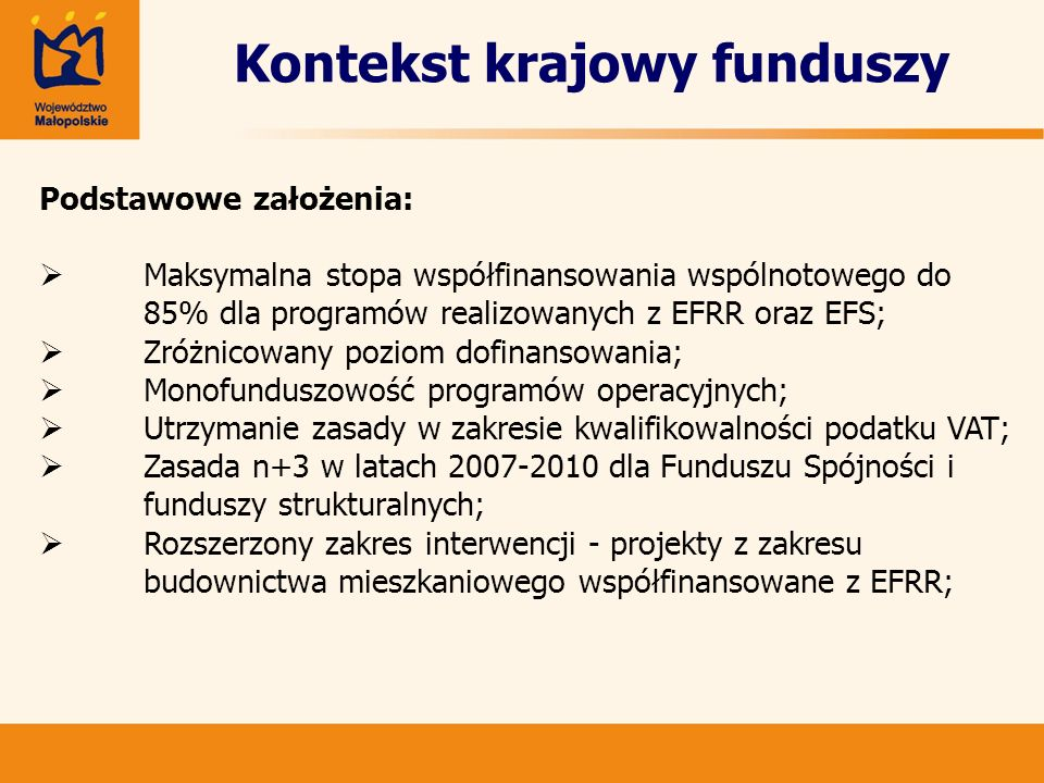 Kontekst krajowy funduszy