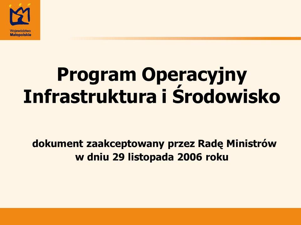 Program Operacyjny Infrastruktura i Środowisko dokument zaakceptowany przez Radę Ministrów w dniu 29 listopada 2006 roku