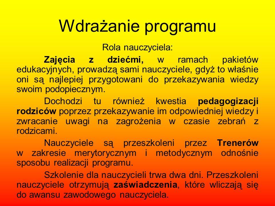 Wdrażanie programu Rola nauczyciela: