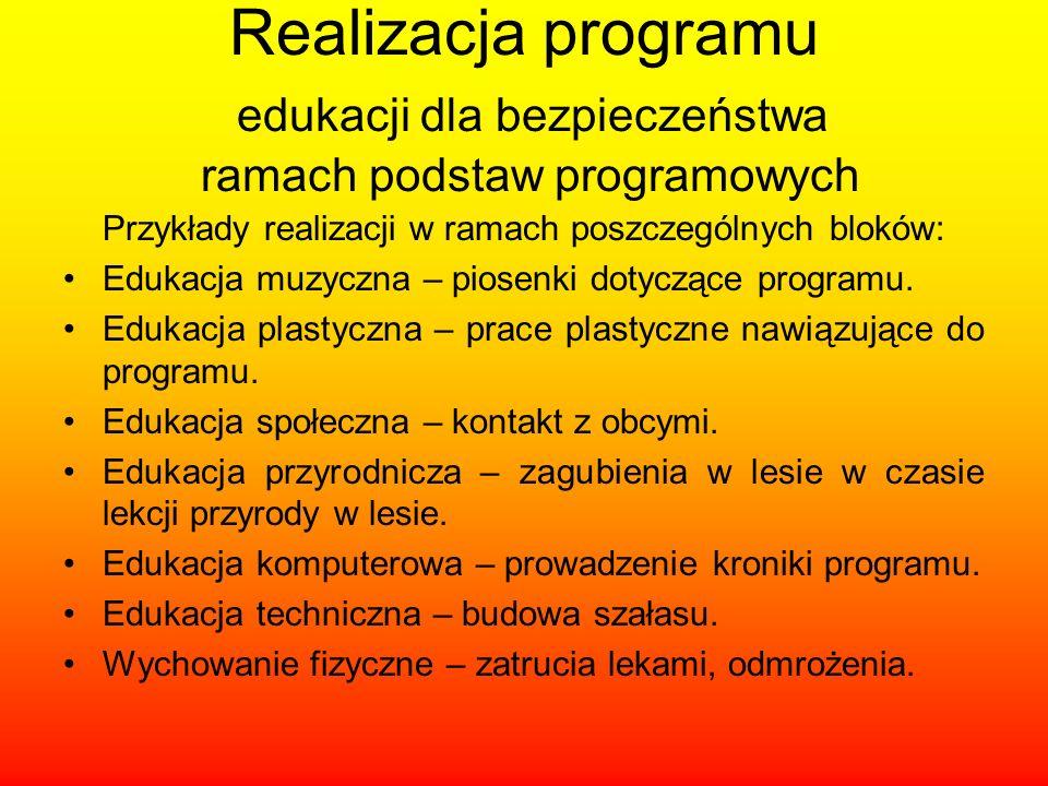 Przykłady realizacji w ramach poszczególnych bloków: