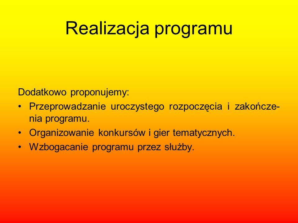 Realizacja programu Dodatkowo proponujemy:
