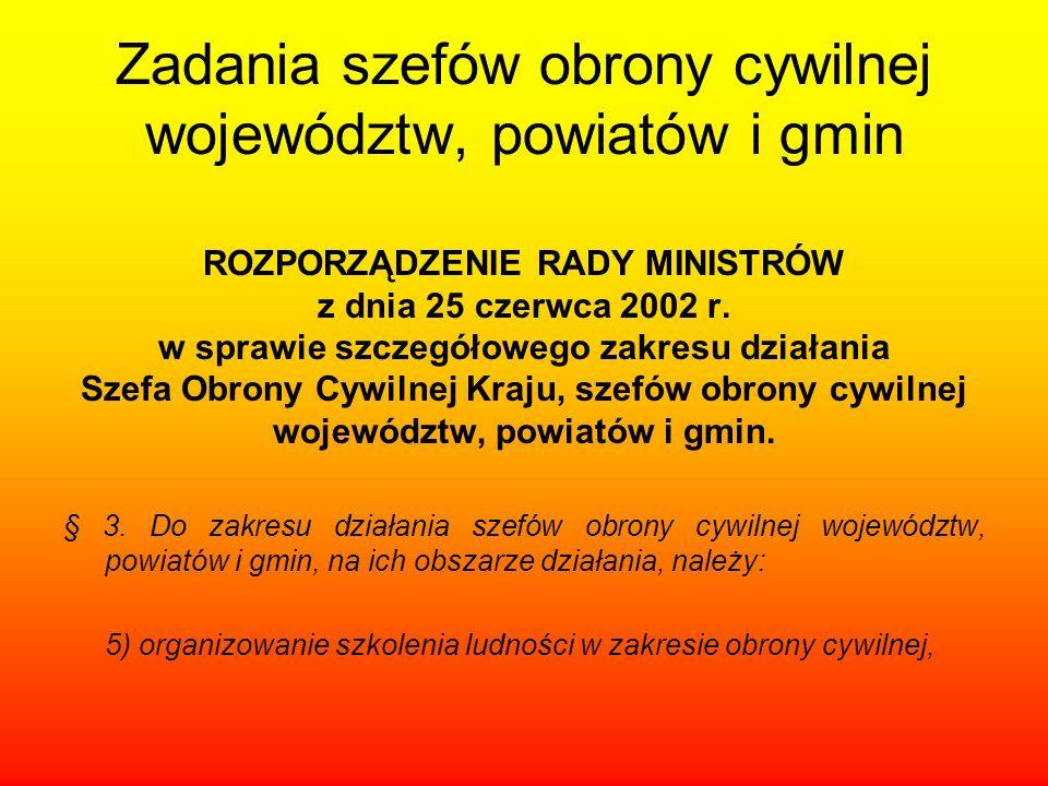 Zadania szefów obrony cywilnej województw, powiatów i gmin