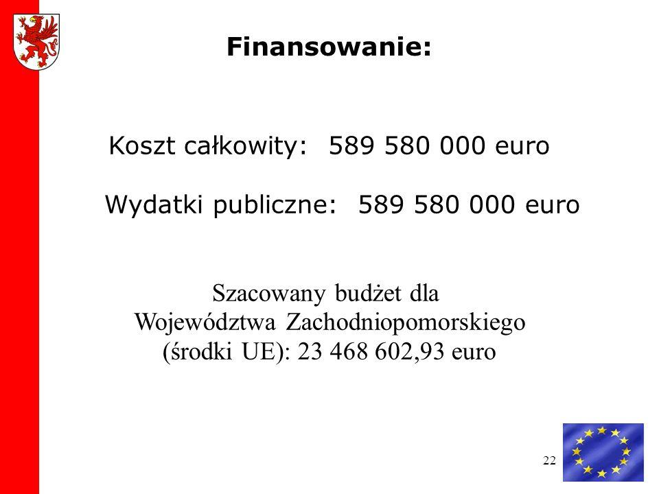 Województwa Zachodniopomorskiego (środki UE): 23 468 602,93 euro