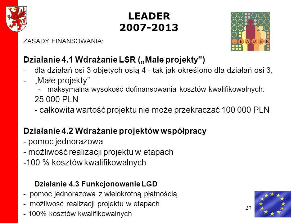 """LEADER 2007-2013 Działanie 4.1 Wdrażanie LSR (""""Małe projekty )"""