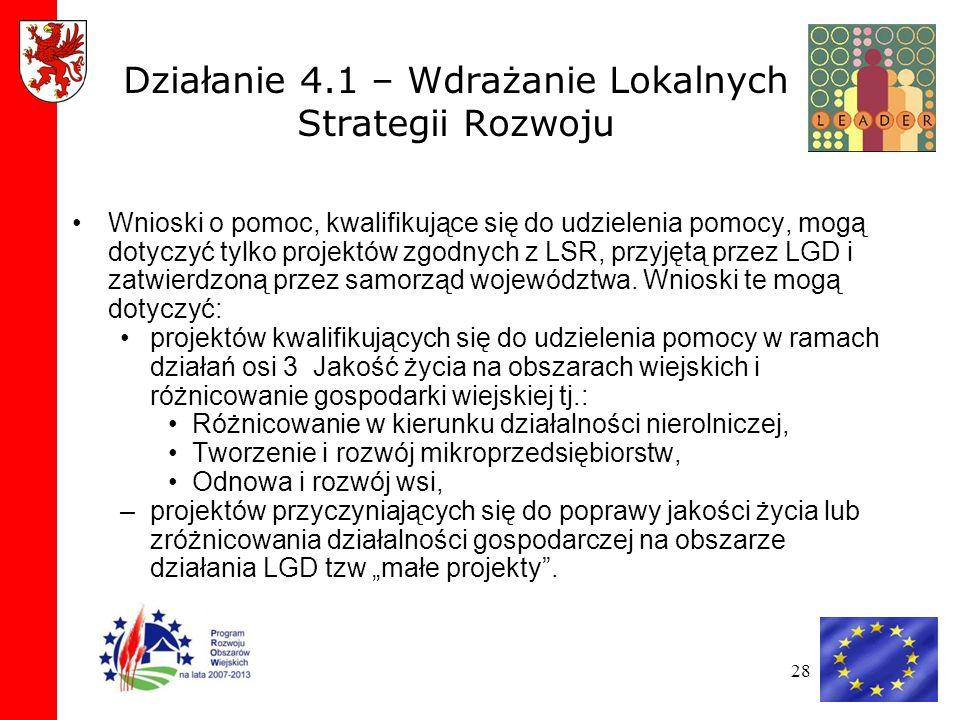 Działanie 4.1 – Wdrażanie Lokalnych Strategii Rozwoju