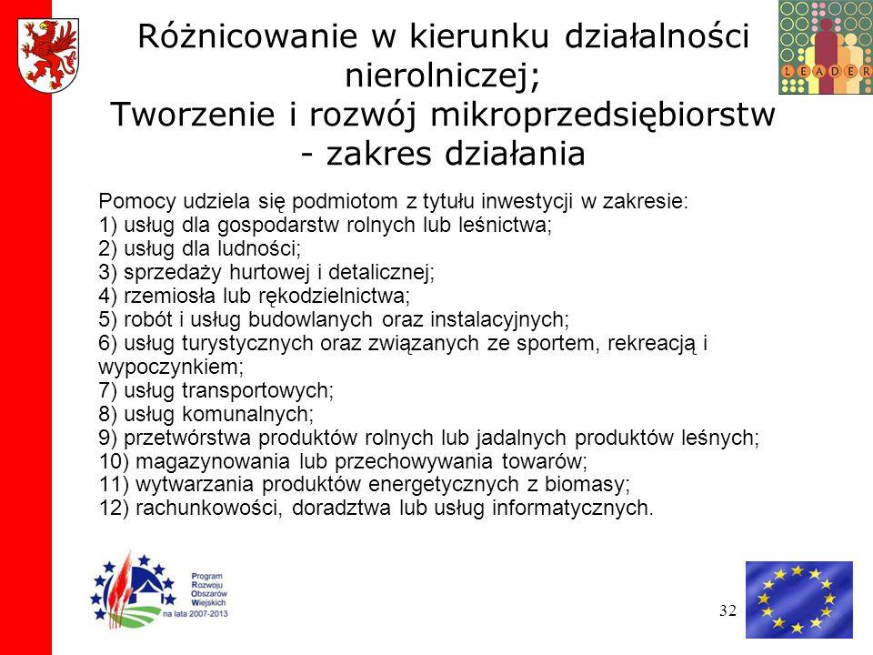 Różnicowanie w kierunku działalności nierolniczej; Tworzenie i rozwój mikroprzedsiębiorstw - zakres działania
