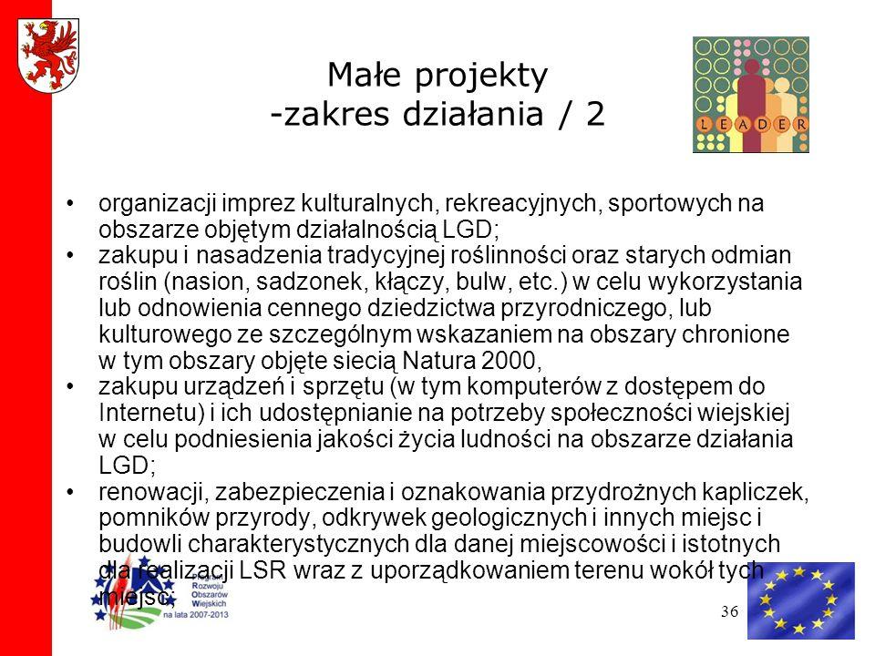 Małe projekty -zakres działania / 2