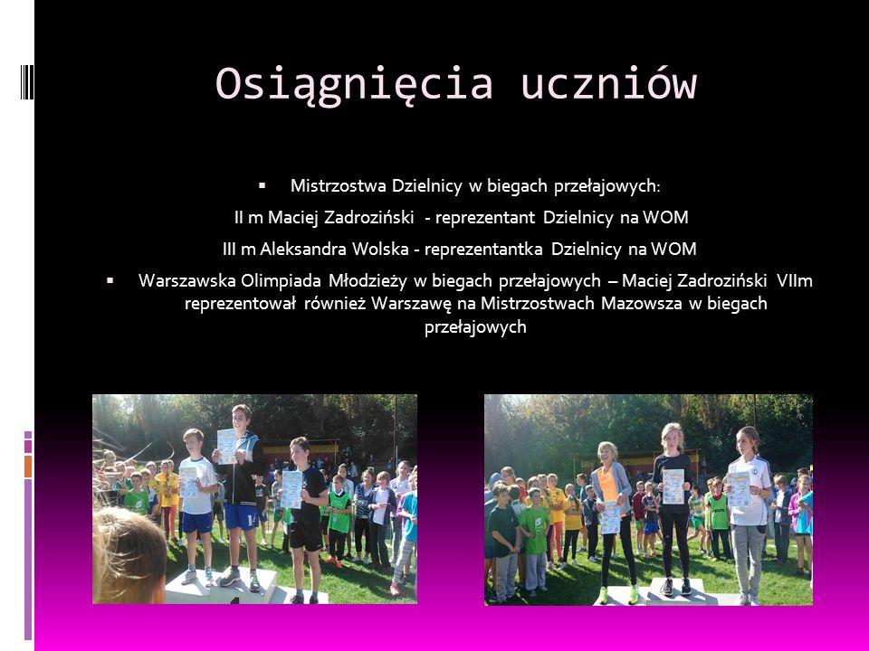 Osiągnięcia uczniów Mistrzostwa Dzielnicy w biegach przełajowych: