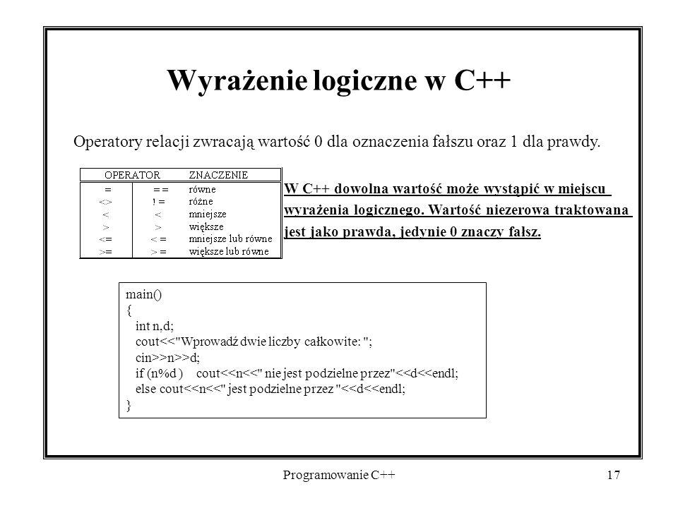 Wyrażenie logiczne w C++