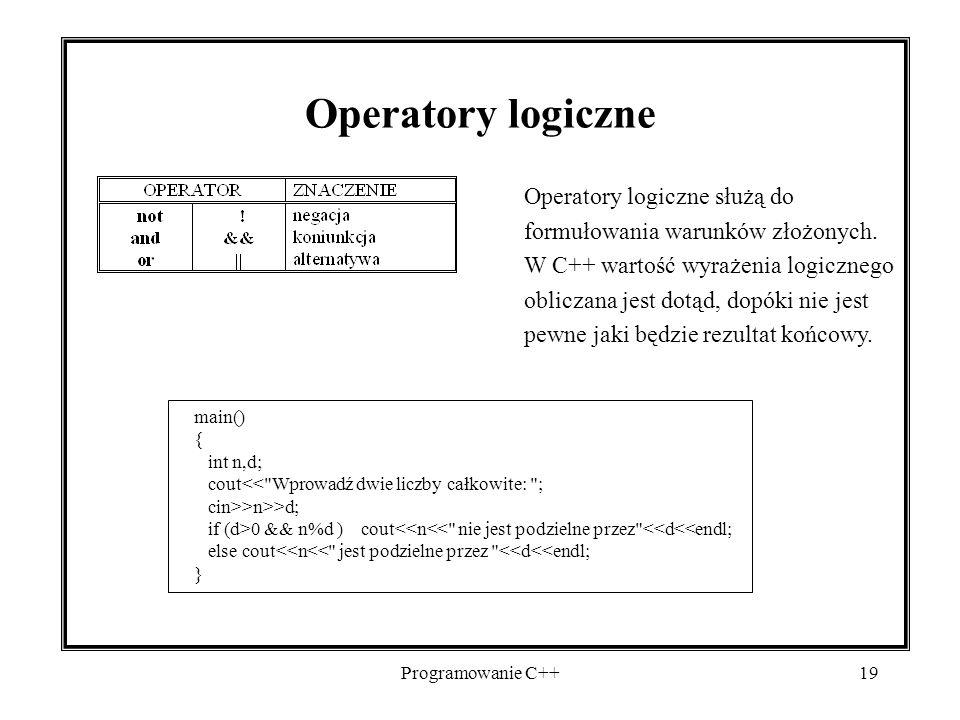 Operatory logiczne Operatory logiczne służą do