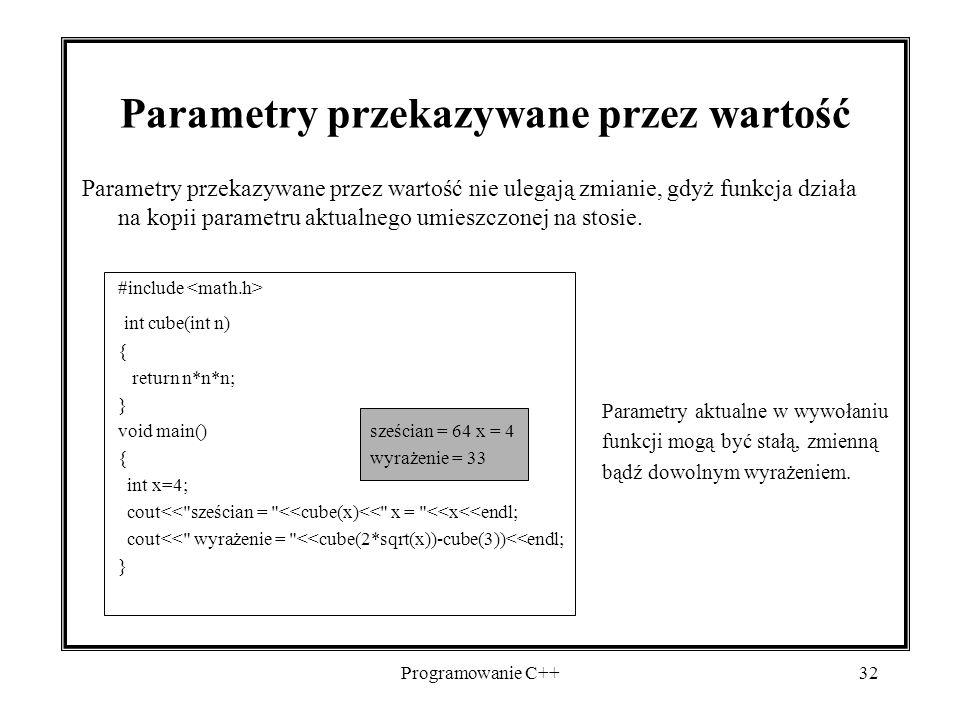 Parametry przekazywane przez wartość