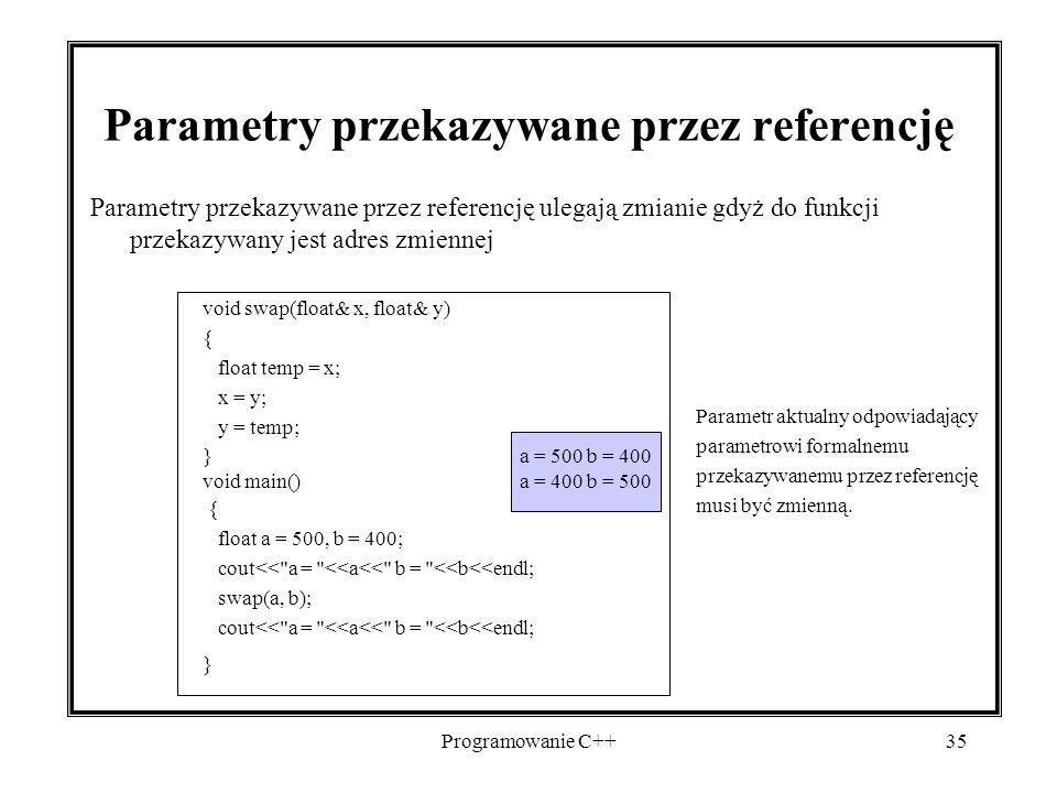 Parametry przekazywane przez referencję