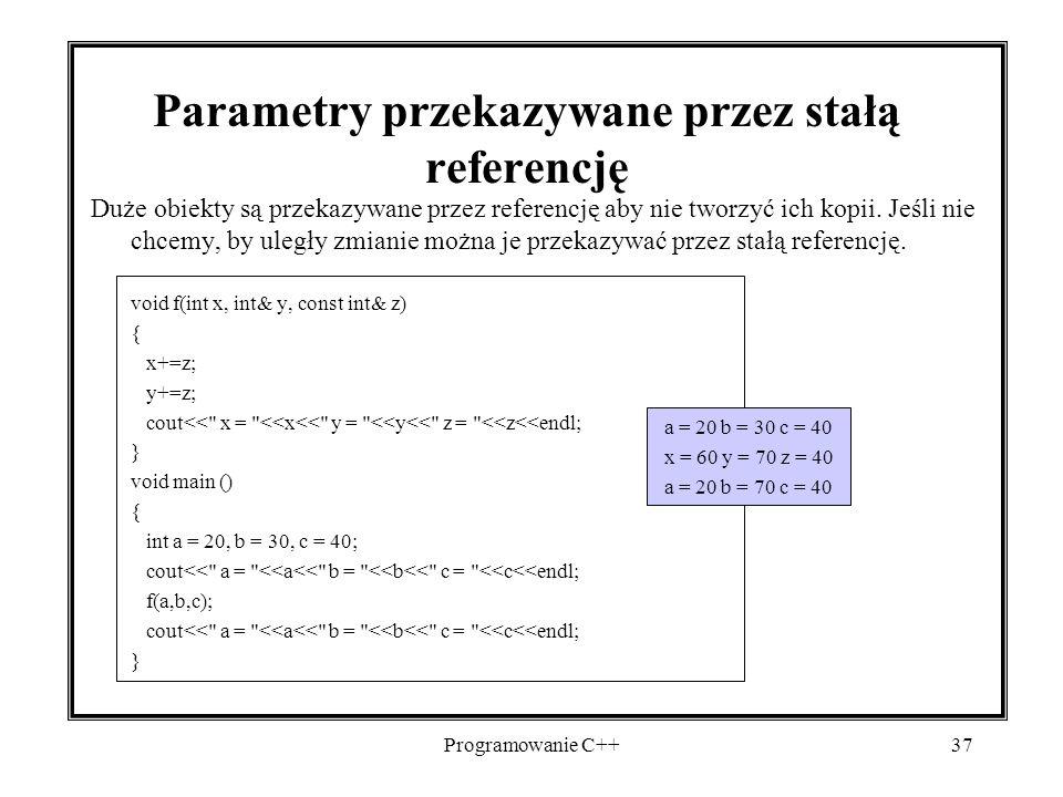 Parametry przekazywane przez stałą referencję