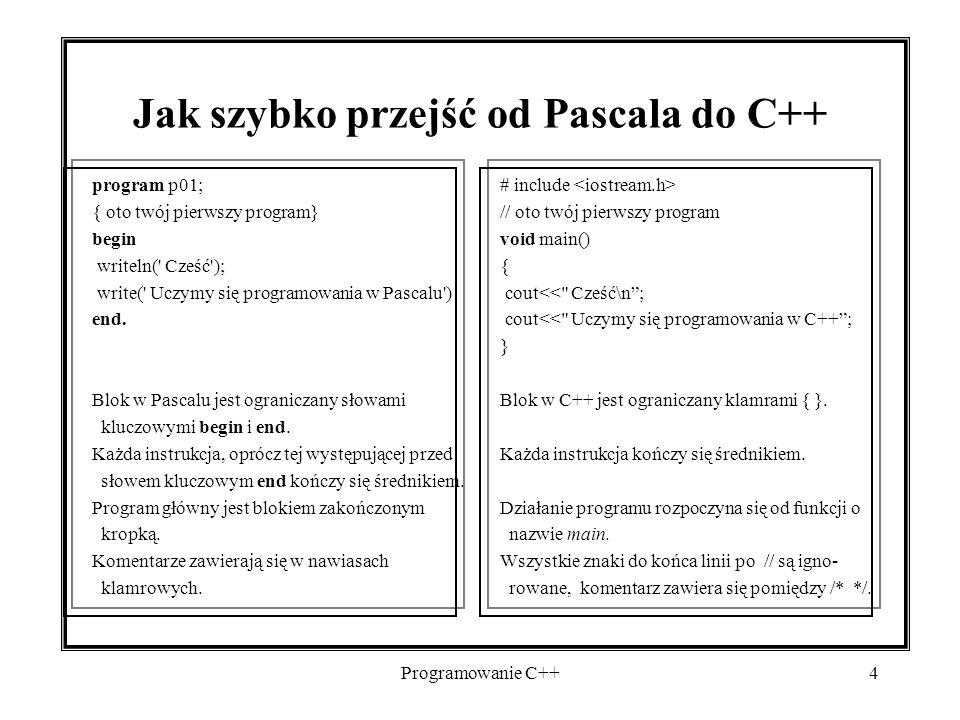 Jak szybko przejść od Pascala do C++