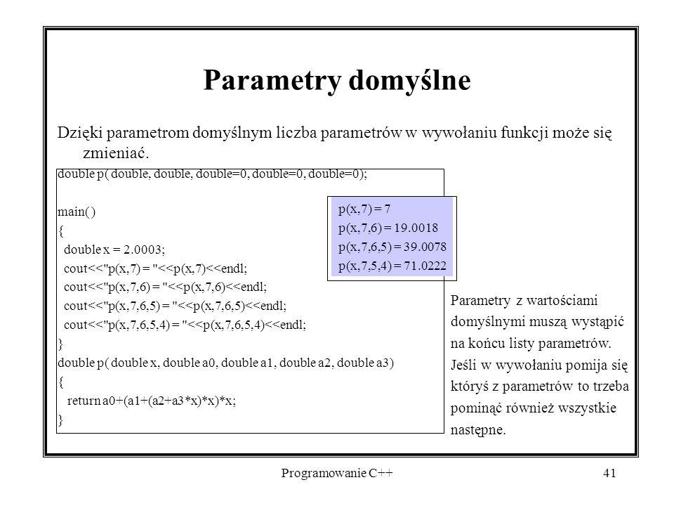 2017-04-19 Parametry domyślne. Dzięki parametrom domyślnym liczba parametrów w wywołaniu funkcji może się zmieniać.