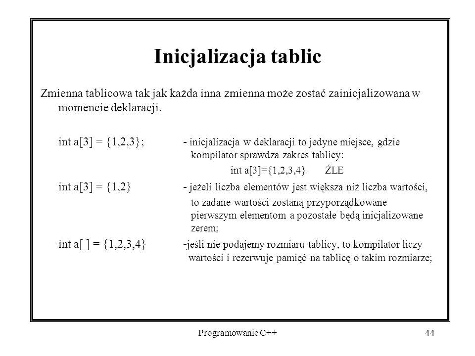 2017-04-19 Inicjalizacja tablic. Zmienna tablicowa tak jak każda inna zmienna może zostać zainicjalizowana w momencie deklaracji.