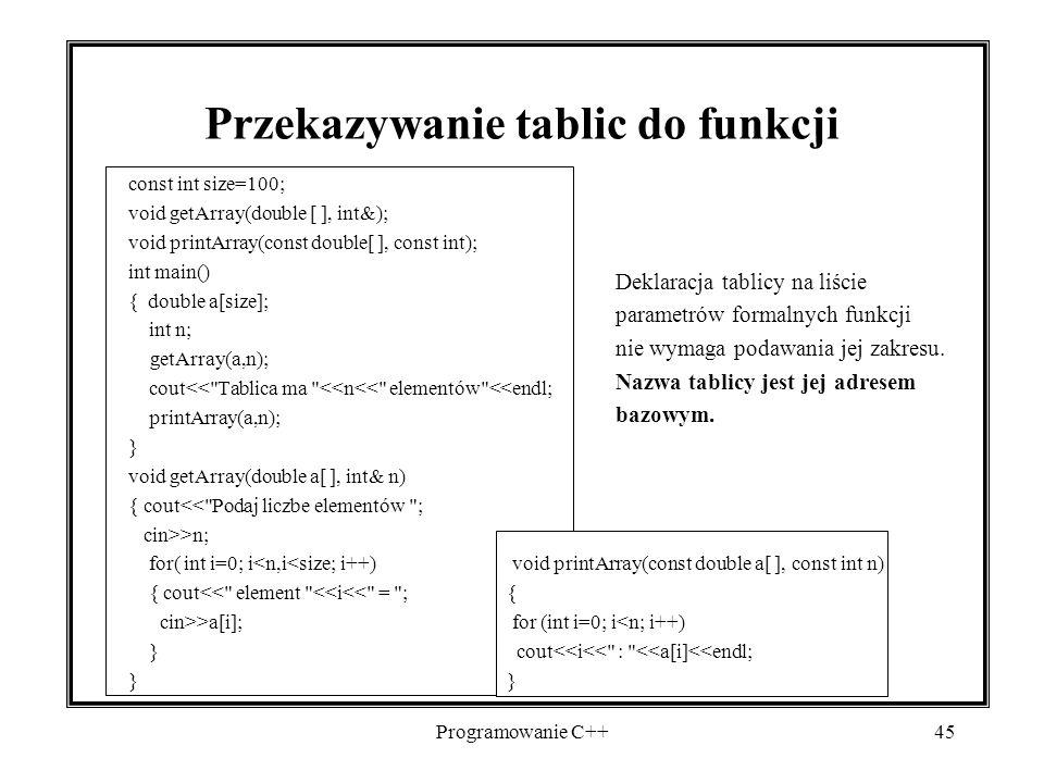 Przekazywanie tablic do funkcji