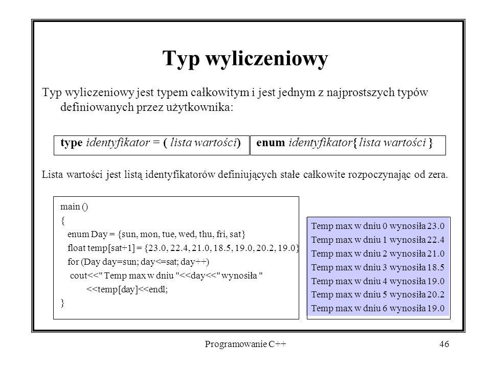 2017-04-19 Typ wyliczeniowy. Typ wyliczeniowy jest typem całkowitym i jest jednym z najprostszych typów definiowanych przez użytkownika: