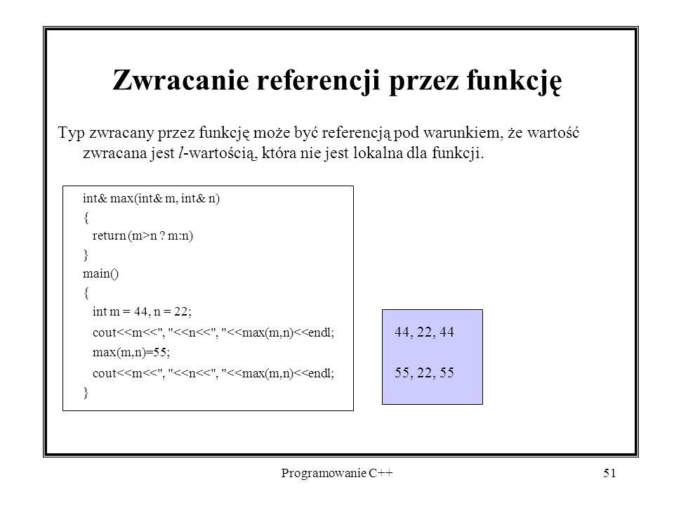 Zwracanie referencji przez funkcję