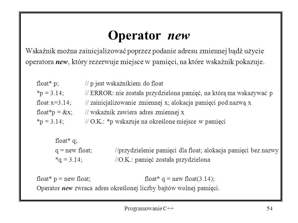 Operator new Wskaźnik można zainicjalizować poprzez podanie adresu zmiennej bądź użycie.