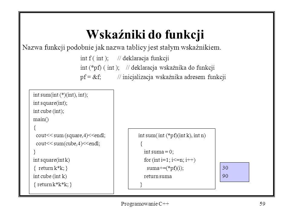 Wskaźniki do funkcji Nazwa funkcji podobnie jak nazwa tablicy jest stałym wskaźnikiem. int f ( int ); // deklaracja funkcji.