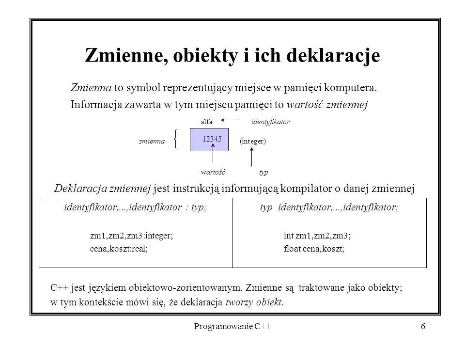 Zmienne, obiekty i ich deklaracje