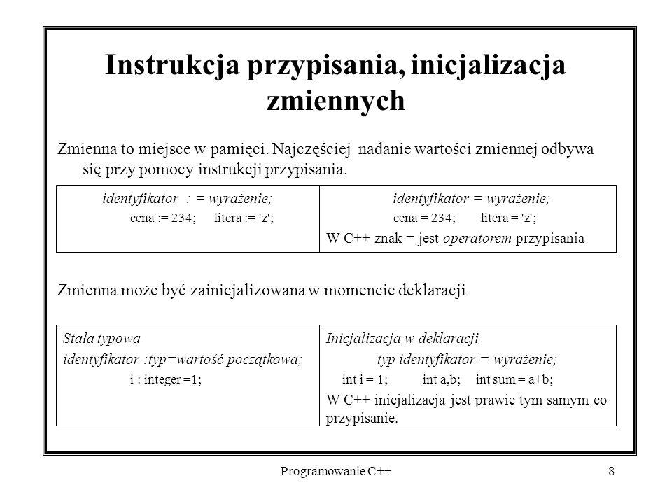 Instrukcja przypisania, inicjalizacja zmiennych