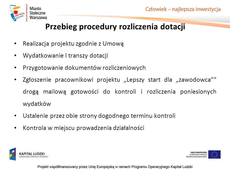 Przebieg procedury rozliczenia dotacji