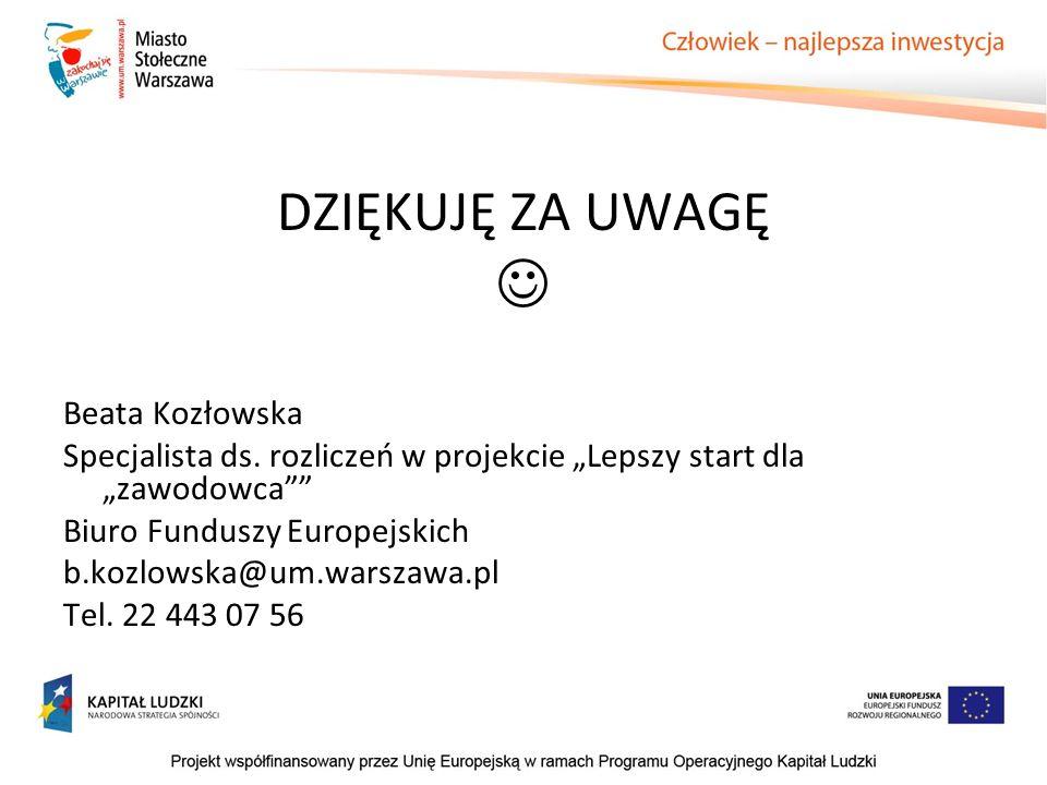  DZIĘKUJĘ ZA UWAGĘ Beata Kozłowska