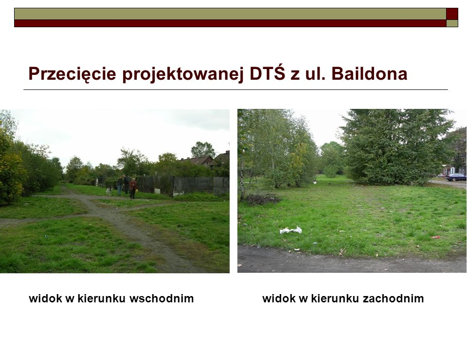 Przecięcie projektowanej DTŚ z ul. Baildona