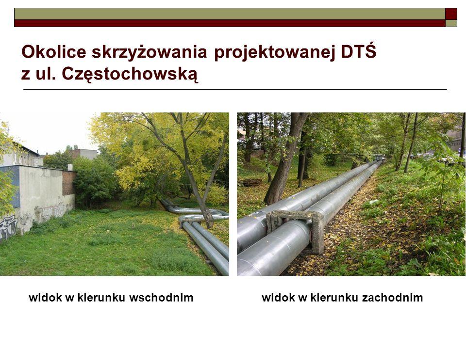 Okolice skrzyżowania projektowanej DTŚ z ul. Częstochowską