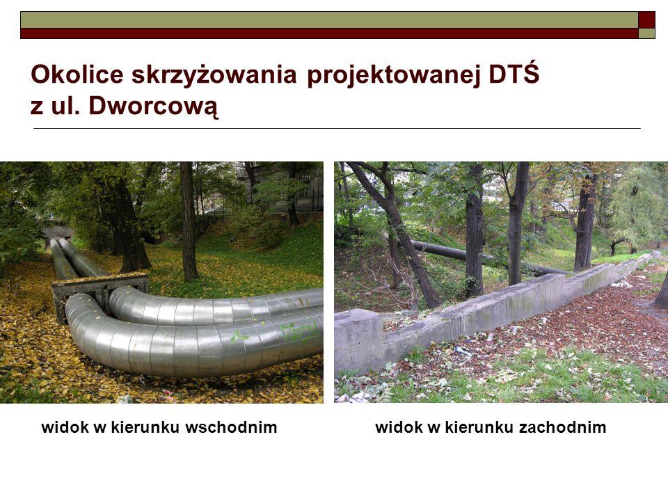 Okolice skrzyżowania projektowanej DTŚ z ul. Dworcową