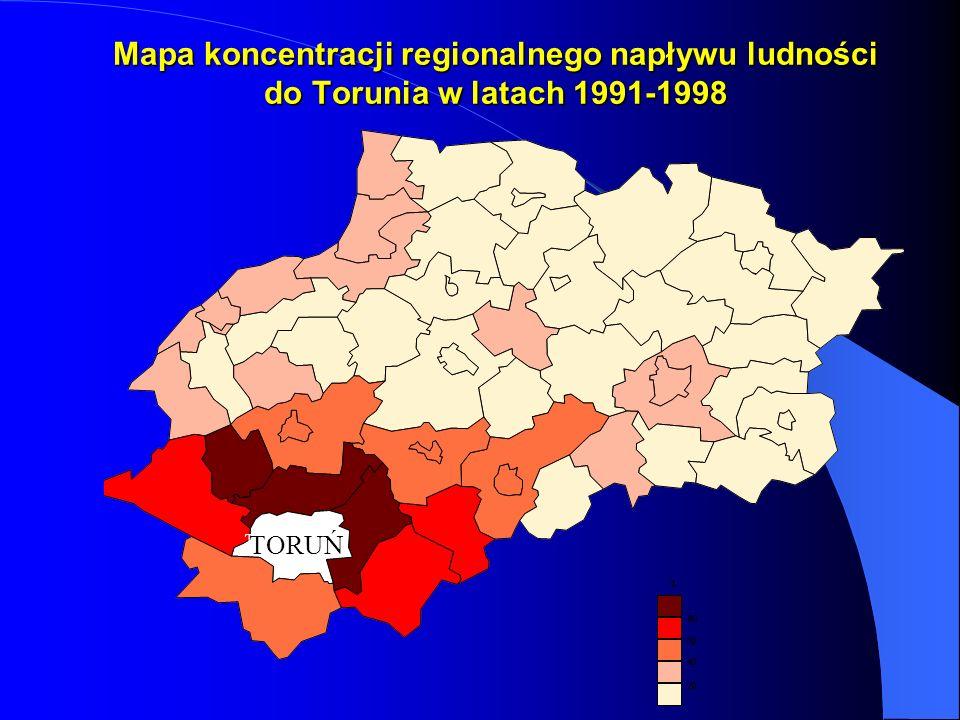 Mapa koncentracji regionalnego napływu ludności do Torunia w latach 1991-1998